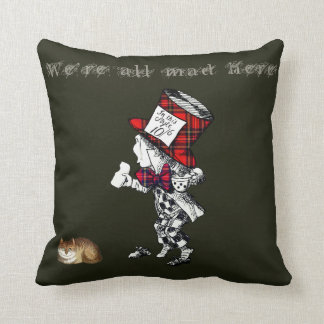 Vintage Mad Hatter Cheshire Cat Art Throw Pillow