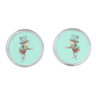 Vintage Mad Hatter Silver Finish Cuff Links