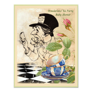 Vintage Mad Hattter's Tea Party Baby Shower 4.25x5.5 Paper Invitation Card