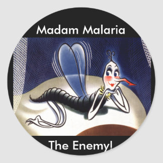 Vintage Madam Malaria Mosquito Round Stickers