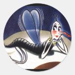 Vintage Madam Malaria Mosquito Stickers
