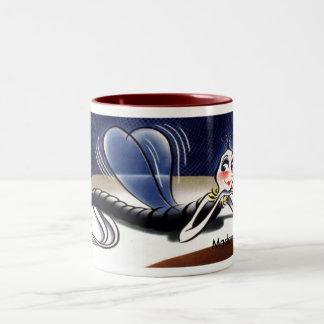 Vintage Madam Malaria Mosquito Two-Tone Coffee Mug