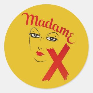 Vintage Madame X Movie Film Bold Graphic Woman Round Stickers