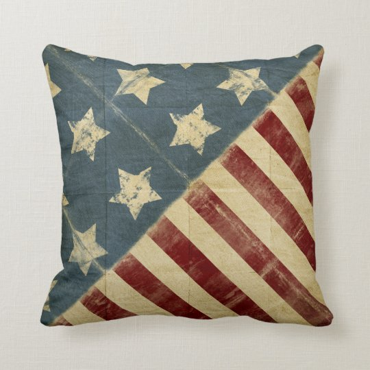 Vintage Made In America American Flag Throw Pillow