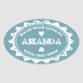Vintage Made with love DIY teal blue oval stickers