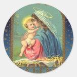 Vintage Madonna y navidad del niño Etiquetas Redondas