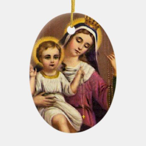 Vintage Madonna y niño Adorno Navideño Ovalado De Cerámica