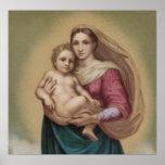 Vintage Madonna y niño Póster