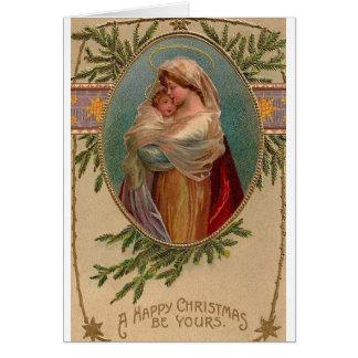 Vintage Madonna y tarjeta de felicitación del navi