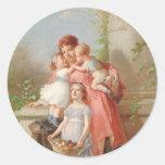 Vintage - madre y niños pegatina redonda