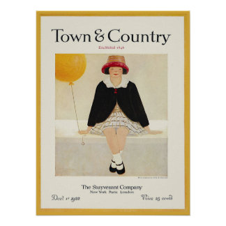 Vintage Magazine Cover Yellow Balloon Girl 1922 Poster