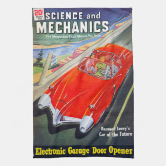 VINTAGE MAGAZINE (FUTURISTIC CAR) Kitchen Towel