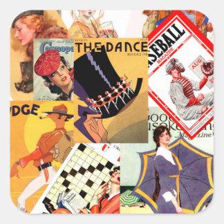 Vintage Magazine Montage Square Sticker
