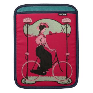 Vintage Magenta Bicycle Woman Antique Bike Nature iPad Sleeves
