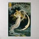 "Vintage Magic Poster Art Woman and Moon<br><div class=""desc"">Image is a vintage magic poster for Alexander Herrmann,  c. 1898</div>"