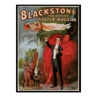 Vintage Magic Poster, Great Blackstone Magician Poster