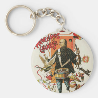 Vintage Magic Poster, Magician Chung Ling Soo Basic Round Button Keychain