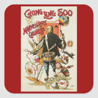 Vintage Magic Poster, Magician Chung Ling Soo Square Sticker