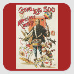 Vintage Magic Poster; Magician Chung Ling Soo Square Sticker
