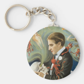 Vintage Magic Poster, Thurston, The Great Magician Basic Round Button Keychain