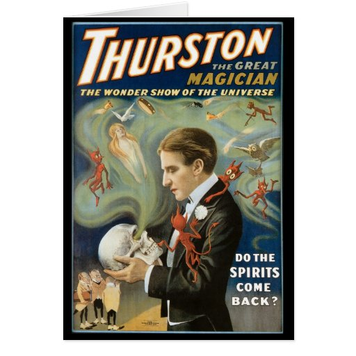 Vintage Magic Poster; Thurston, The Great Magician Greeting Card