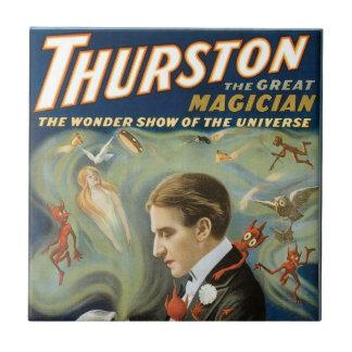 Vintage Magic Poster, Thurston, The Great Magician Ceramic Tile