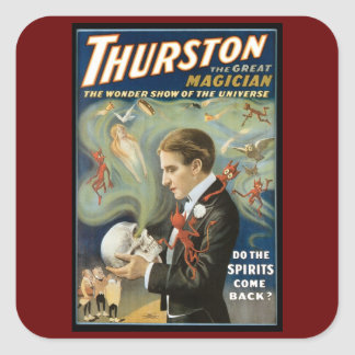 Vintage Magic Poster, Thurston, The Great Magician Square Sticker