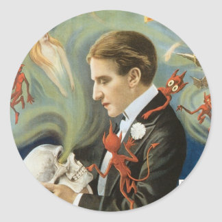 Vintage Magic Poster; Thurston, The Great Magician Round Sticker