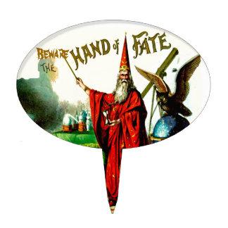 Vintage Magic Wizard Merlin Fate Litho Label Art Cake Topper