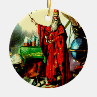 Vintage Magic Wizard Merlin Fate Litho Label Art Ceramic Ornament