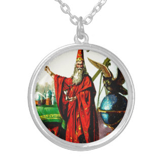 Vintage Magic Wizard Merlin Fate Litho Label Art Round Pendant Necklace