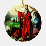 Vintage Magic Wizard Merlin Fate Litho Label Art Christmas Tree Ornament