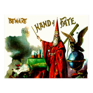 Vintage Magic Wizard Merlin Fate Litho Label Art Postcard