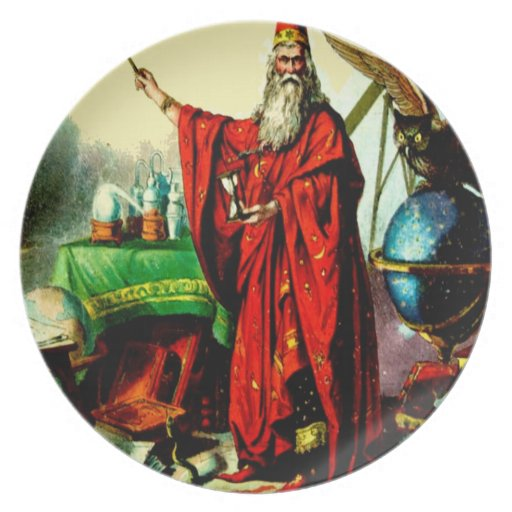 Vintage Magic Wizard Merlin Fate Litho Label Art s Dinner Plates