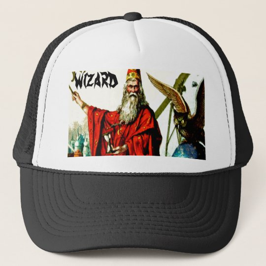 Vintage Magic Wizard Merlin Fate Litho Label Art Trucker Hat