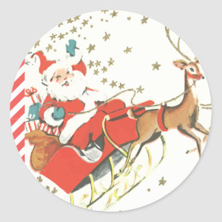 Vintage Magical Christmas Santa Claus and Stars Classic Round Sticker