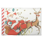 Vintage Magical Christmas Santa Claus and Stars Place Mat