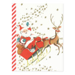 Vintage Magical Christmas Santa Claus and Stars Postcard