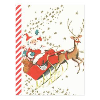 Vintage Magical Christmas Santa Claus and Stars Postcard