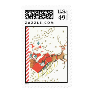 Vintage Magical Christmas Santa Claus and Stars Stamps