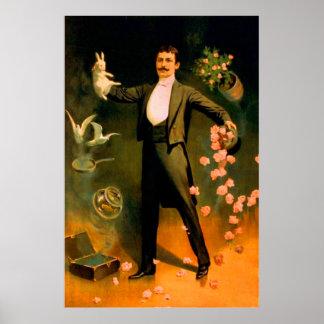 Vintage Magician Rabbits Roses Doves Magic Tricks Poster
