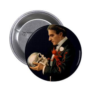 Vintage Magician Thurston holding a Human Skull 2 Inch Round Button