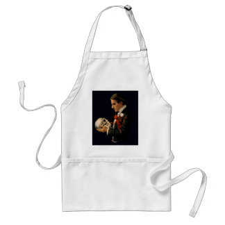 Vintage Magician, Thurston Holding a Human Skull Adult Apron