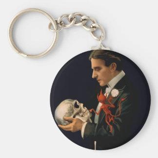 Vintage Magician Thurston holding a Human Skull Basic Round Button Keychain