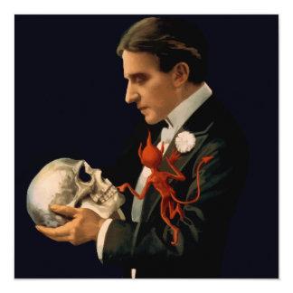 Vintage Magician, Thurston Holding a Human Skull Card