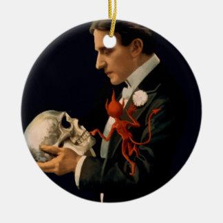 Vintage Magician, Thurston Holding a Human Skull Ceramic Ornament