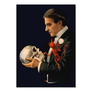 Vintage Magician Thurston holding a Human Skull 5x7 Paper Invitation Card