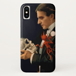 Vintage Magician, Thurston Holding a Human Skull iPhone X Case