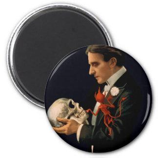 Vintage Magician Thurston holding a Human Skull Magnet