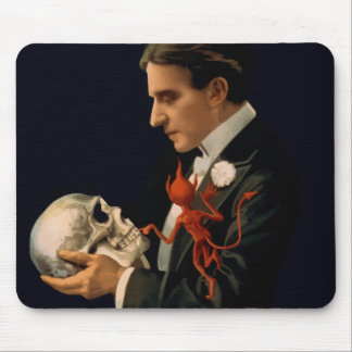 Vintage Magician, Thurston Holding a Human Skull Mouse Pad